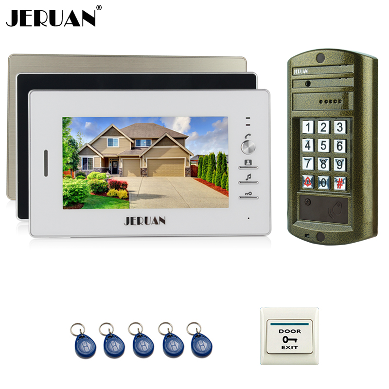 JERUAN 7`` TFT Color Video Door Phone Intercom system kit + NEW Metal waterproof Access password keypad HD Mini Camera 1V3 jeruan home 7 inch video door phone intercom system kit new metal waterproof access password keypad hd mini camera 2 monitor