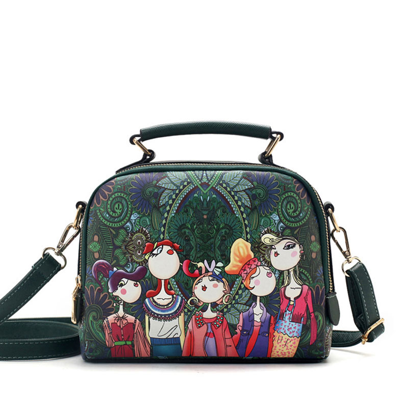 YQYDER 2017 designer luxury brand high quality PU leather ladies ladies green cartoon handbag shoulder bag