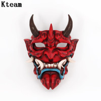 Top Grade Resin Vintage Japanese Buddhist Evil Oni Noh Hannya Mask Halloween Party Costume Horror Movie Game Mask Fancy Dress