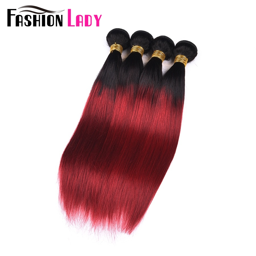 Fashion Lady Pre Colored 1b/Red Ombre Brazilian Straight Hair 4 Bundles 100% Human Hair Weave Bundles Non remy Hair Extensions