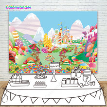 Candyland Photography Backdrops 7x5 Kinds Candy Castle Background for Baby Shower Colorful Donut Birthday Party Backgrounds(China)