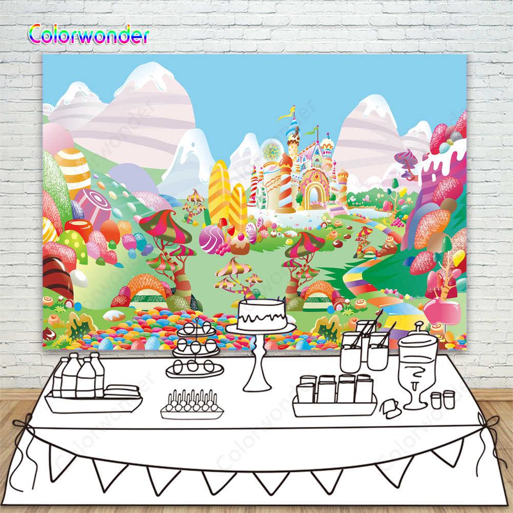 Fondos de fotografía Candyland 7x5 tipos Candy Castle fondo para Baby Shower colorido Donut cumpleaños fiesta fondos