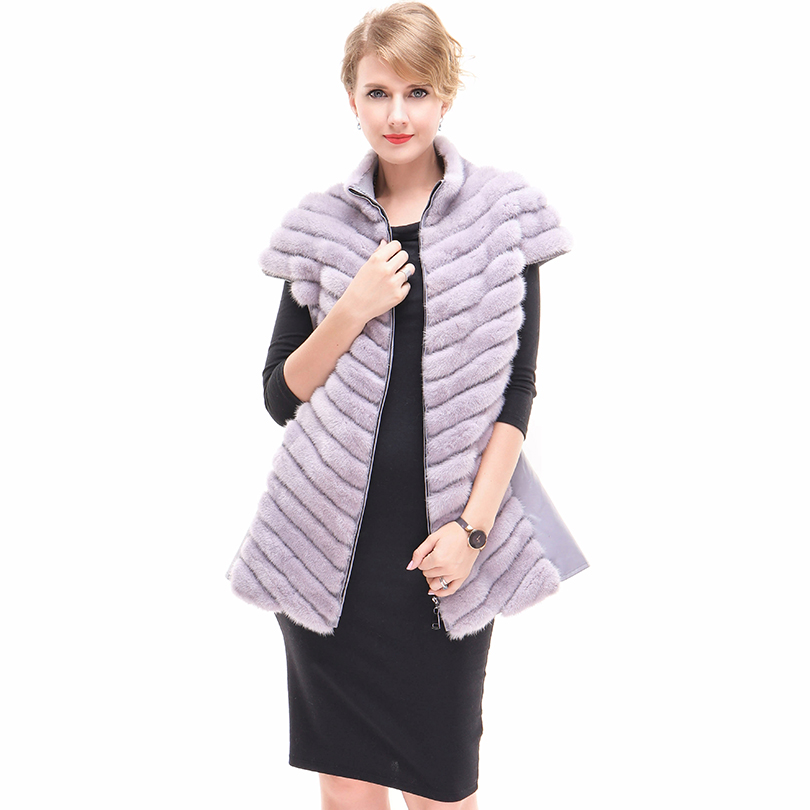 Femme Gilet Fourrure Mouton Purple En Vison Les Réel Ceinture De Veste Femmes Manteaux Chaud Mode black Véritable Pour Peau TIq50v