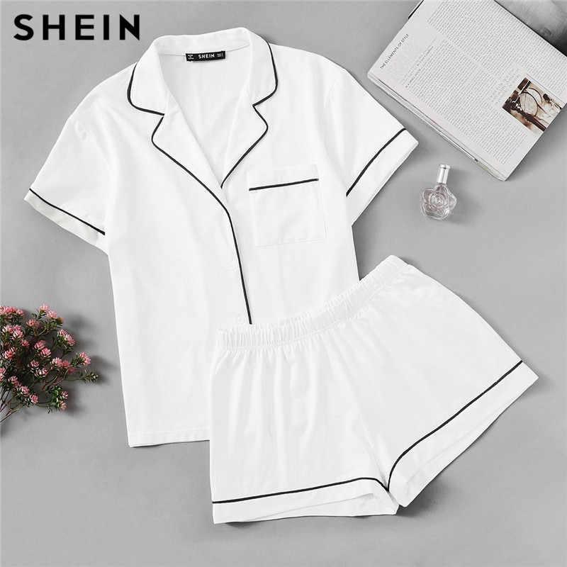 SHEIN белая контрастная окантовка карман спереди рубашка и шорты Пижама женская Простая Кнопка короткий рукав Повседневная 2019 ночная рубашка