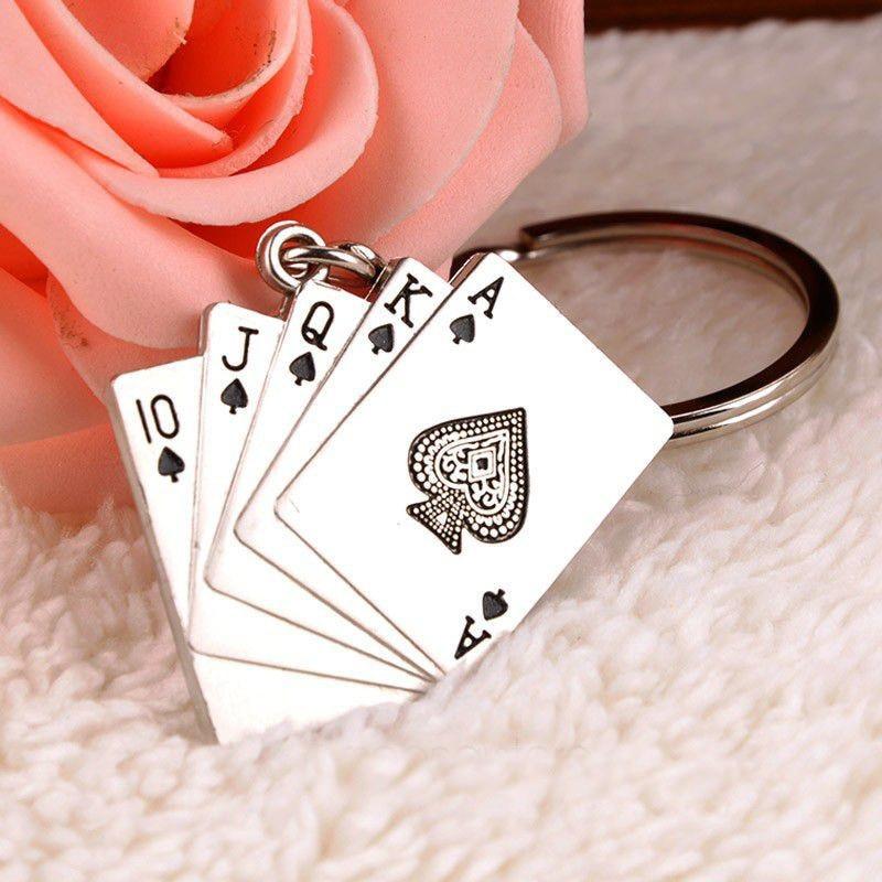 Key Chain Fashion poker playing card key ring mans keychain key ring lovers design