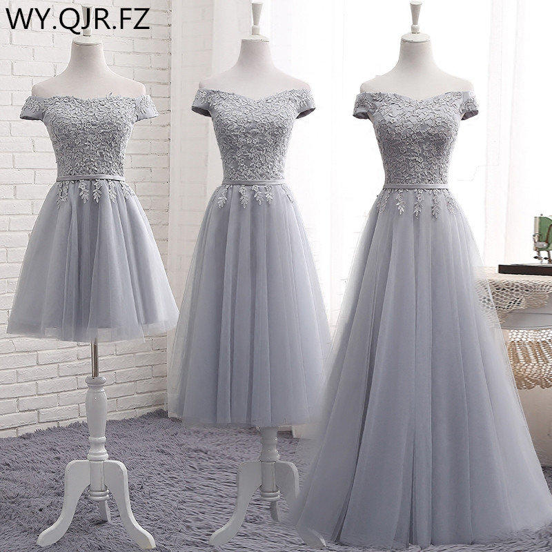 PTH2122H#Off Shoulder embroidery gray lace up   bridesmaid     dresses   new spring summer 2019 short Middle long style party prom   dress