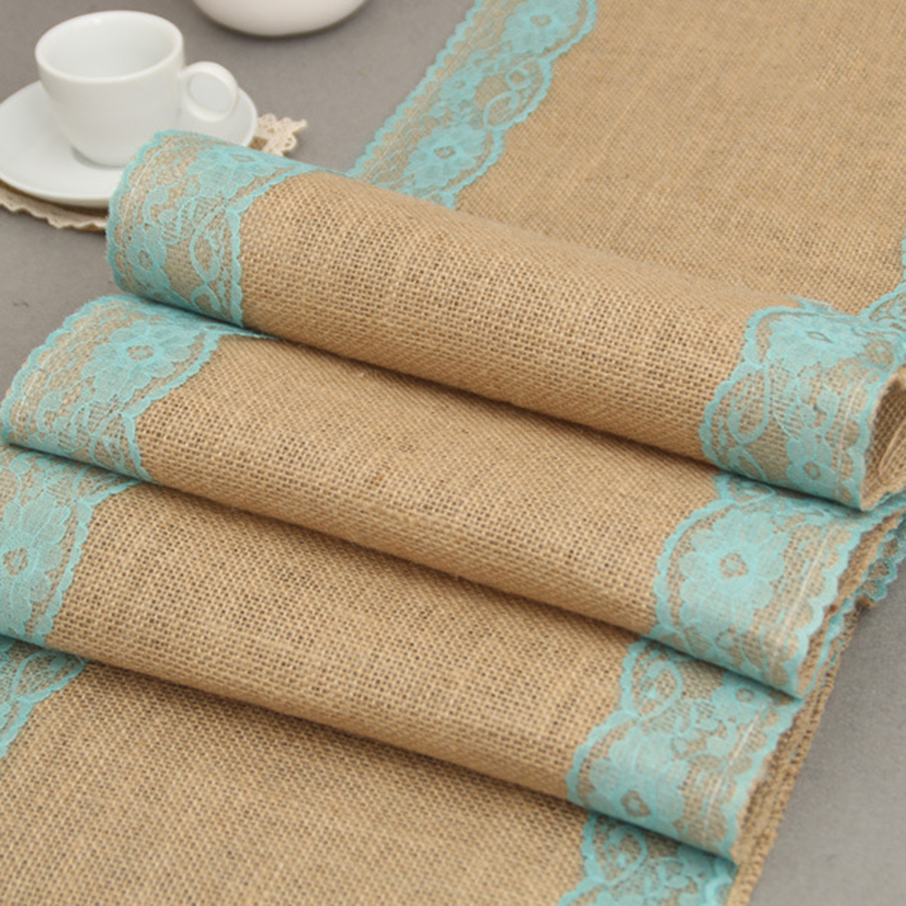 Good Quality 30x275cm Linen Lace Dinning Room Table Runner Natural Jute Country Party Wedding Decoration