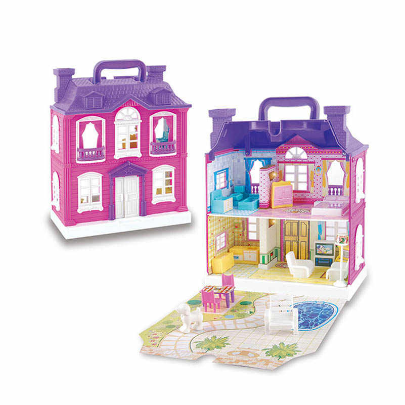Eva2kin Doll House Accessory Furniture Diy Kit 3D Miniature Plastic Model Toy with Music And LED Lamp for Children Birthday Gift