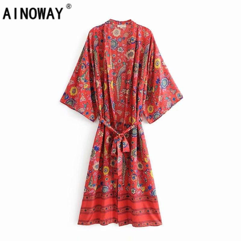 Vintage chic women vestidos dress floral print bat sleeve beach Bohemian kimono dresses Ladies V neck Tassel Summer Boho dress