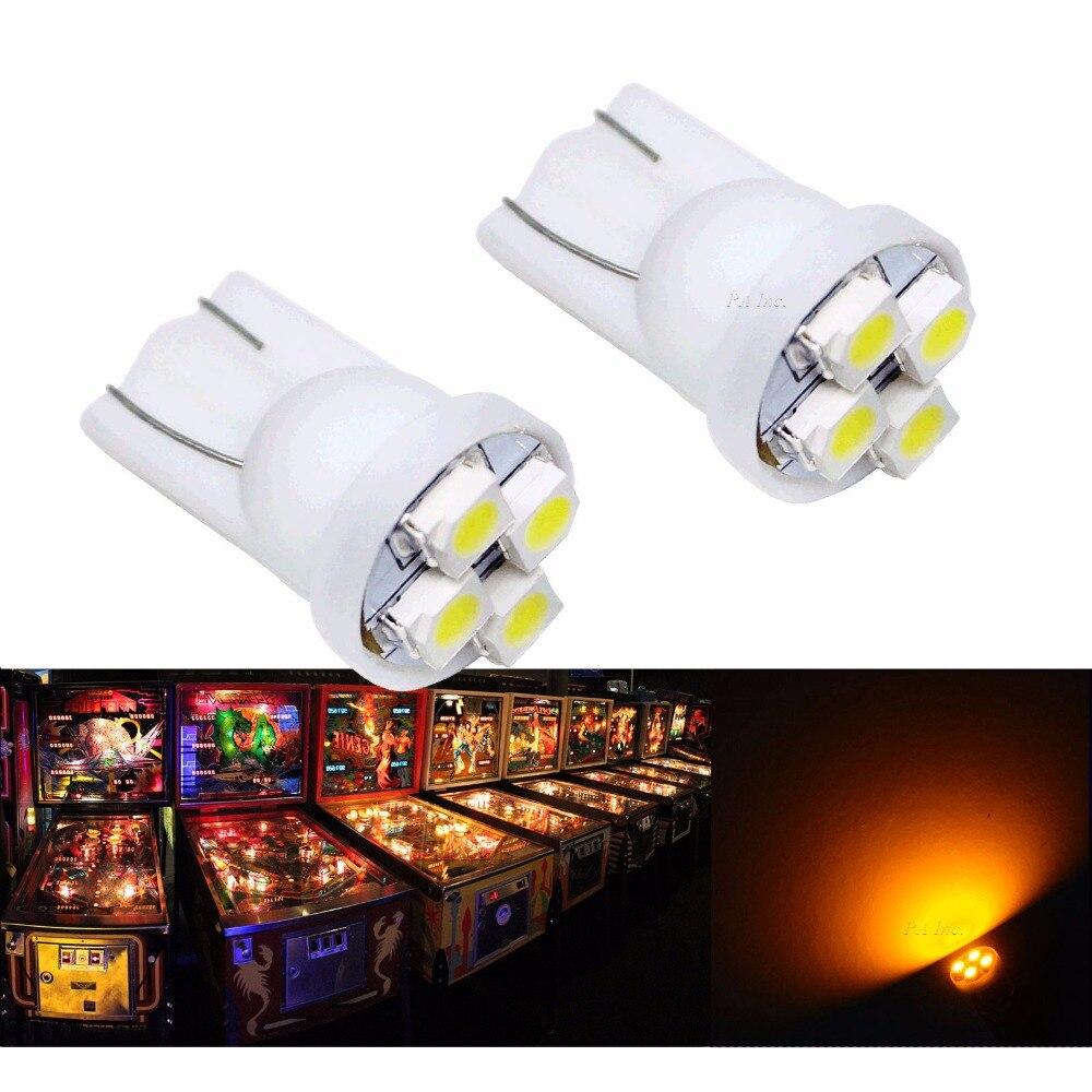 PA LED 10 шт. X Высокое качество T10 #555 194 4smd 3528 Желтый янтарь Цвет для пинбол LED 6.3 В ...