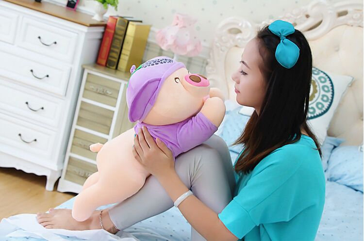 new plush purple  pig toy cuddly toy stuff lying grapes pig doll valentine's day gift about 60cm