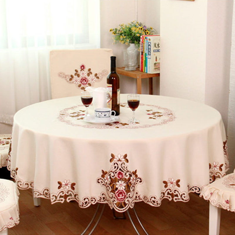 European embroidery Round tablecloth dinning table cloth ...