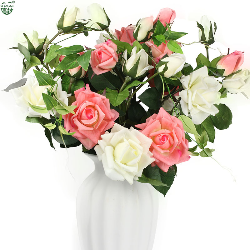 (EXTRA10% OFF / 10PCS) 5or10PCS (2Flower + 1Bud) / PC Large Inicio / Boda / Fiesta / Novia Látex Artificial Real Touch Flower Roses