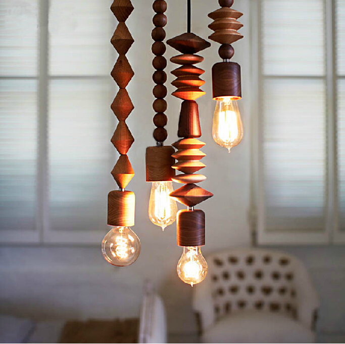 Vintage Loft Antique Oak Wooden shade Handmade Wood E27 Bulb LED Hanging Pendant Lamp Wooden Desk Lighting Modern Light 110-240V brass half round ball shade pendant light led vintage copper wooden lighting fixture brass wood fabric wire pendant lamp