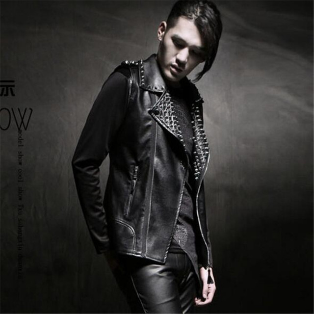 Stage street black rivet oblique zipper PU leather jackets mens short coats Motorcycle sleeveless slim fashion man clothing