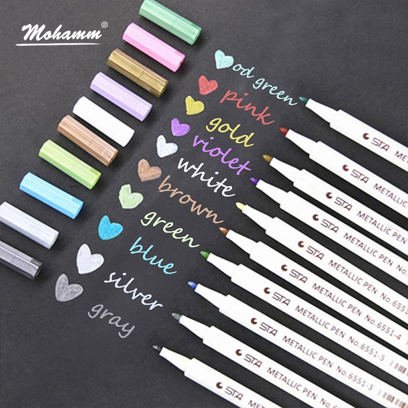 Us 13 76 22 Off 10 Colors Sta Metallic Markers Pens Fine Tip Metal Art Paint Marker For Gift Card Making Diy Photo Black Paper Loose Packaging In