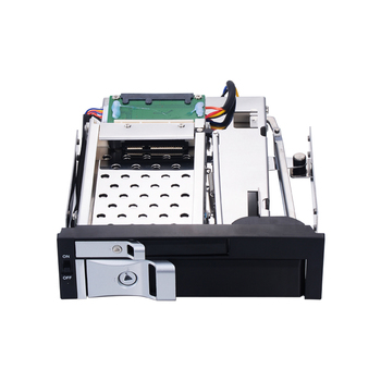 Dual bay 5.25 inch Trayless Hot Swap Mobile Rack for 1*2.5 inch and 1*3.5 inch Hard Drive internal hot swap backplane enclosure