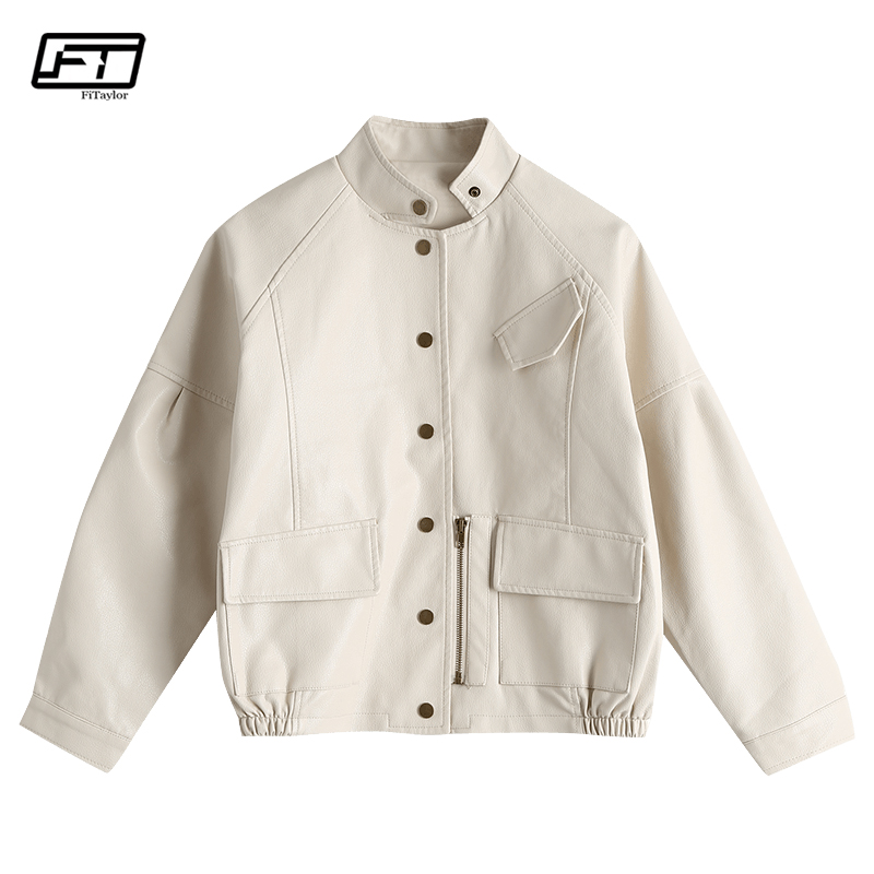 Fitaylor Autumn Vintage PU   Leather   Jacket Harajuku Baseball Uniform Short Design Loose Fit Faux   Leather   Jacket Street Outwear