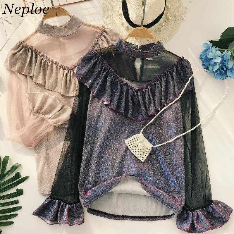 Neploe Short Striped Shirts Sexy Gauze Patchwork Blouse Korean Slim Shirt Blouses 2019 New Women Top Clothing 37353 Blouses & Shirts