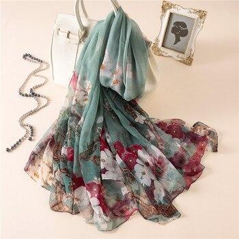 ¡Novedad de 2020! Bufanda de seda para mujer, chal con estampado floral a la moda, pashmina grande, toalla de playa para viajes, pañuelos protectores solares, pañuelo suave