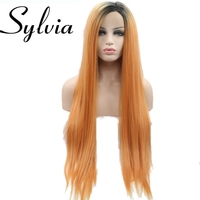 Sylvia Heat resistant straight orange synthetic lace front wig with dark root for women glueless middle part long soft  wig