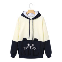 Hoodies Sweatshirts 2018 Autumn Winter Cat Question Mark Embroidered Patchwork Color Long Sleeve Tracksuit Casual Hooded Tops