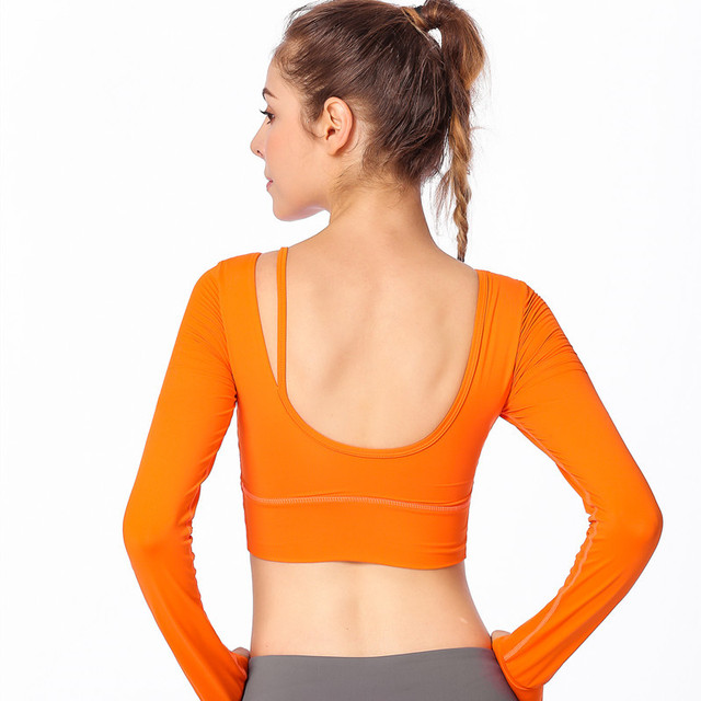 d5fa3ae64b With Removable Cups Scoop Back Womens Yoga Crop Top Long Sleeve Female  Running Fitness Sports T