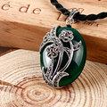 925 prata esterlina jóias whit verde jade calcedônia ágata preta colares planta forma de flor para as mulheres