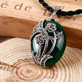 925 sterling silver jewelry whit green jade black chalcedony agate necklaces pendants plant flower shape for females