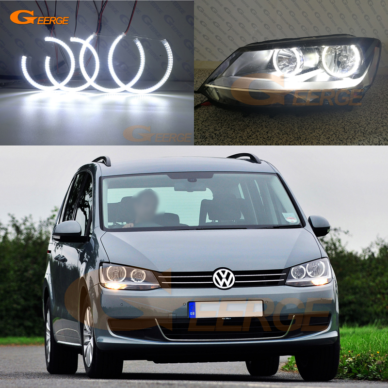 For Volkswagen VW Sharan MPV 2010 2011 2012 2013 2014 2015 Excellent Ultra bright illumination smd led Angel Eyes kit hot sale abs chromed front behind fog lamp cover 2pcs set car accessories for volkswagen vw tiguan 2010 2011 2012 2013