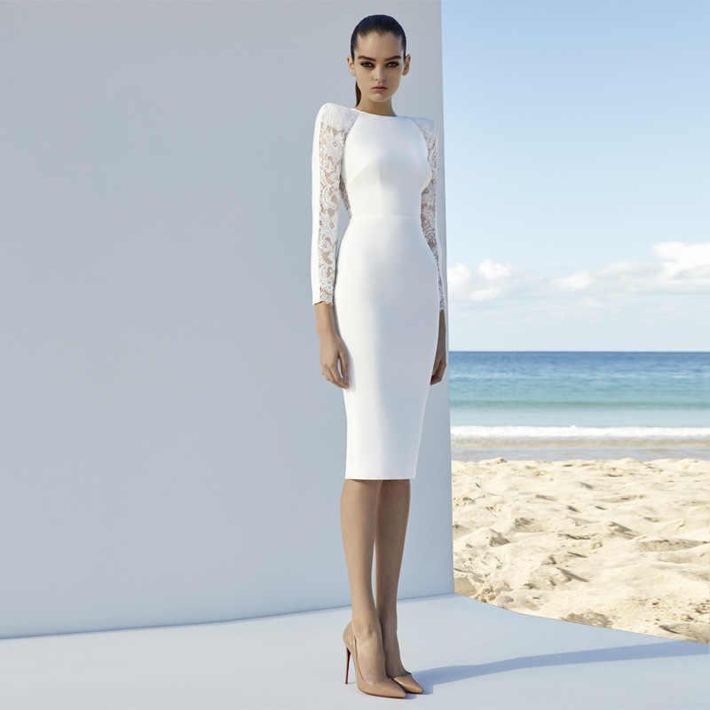 Bqueen 2017 новое поступление элегантное однотонное осеннее женское Бандажное платье с длинным рукавом сексуальное кружевное миди облегающее женское платье с круглым вырезом Vestidos