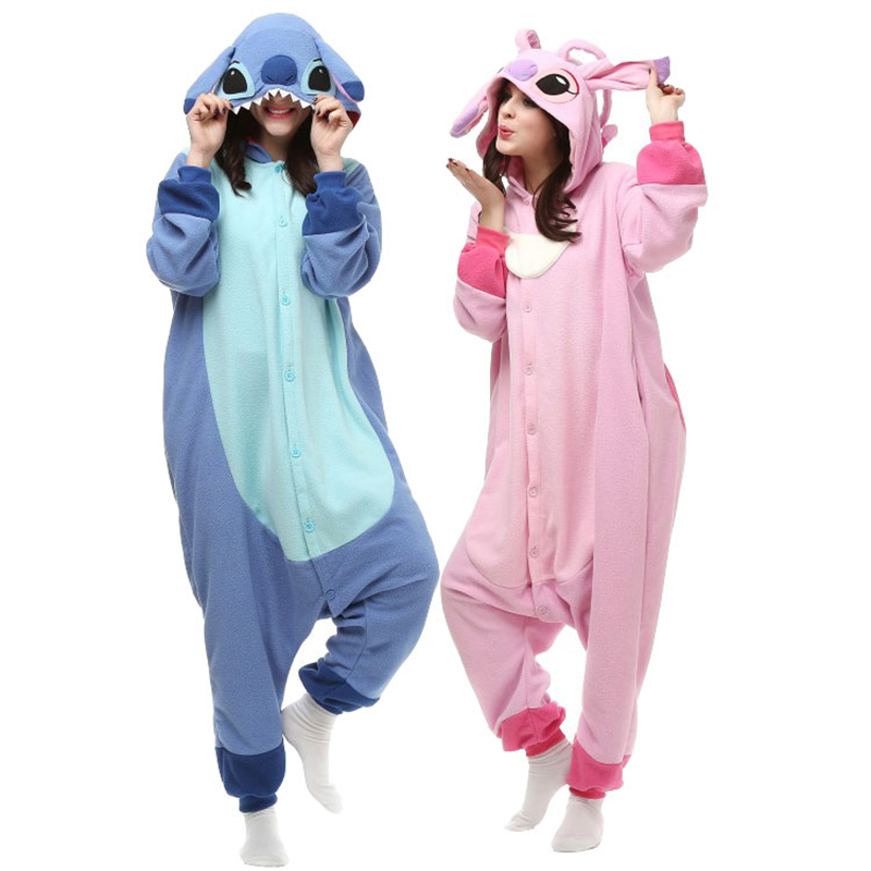 Designer kawaii Anime Animal Blue / pink Stitch Pajamas Adult Unisex Women Men Onesie Polyester Polar Fleece One Piece Sleepwear