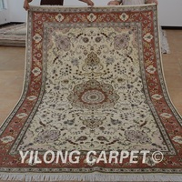 Yilong 6'x9' Oriental pure wool carpet exquisite hand woven india wool rugs (1427)