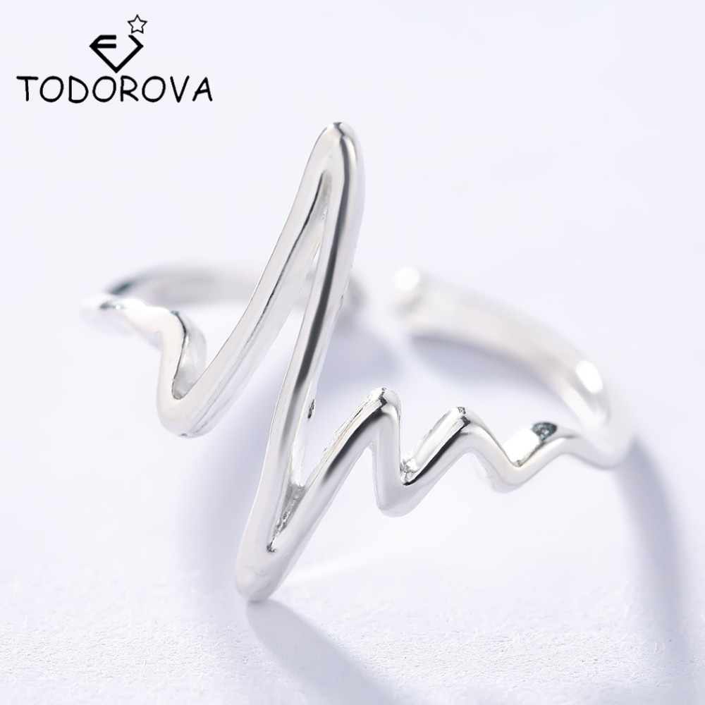 Todorova 925 Silver Ring Man Women Fashion Sterling Silver Jewelry Heartbeat Electrocardiogram Lovers Ring Pure 925 joyas