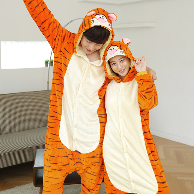 Autumn And Winter One Piece Unisex Flannel Orange Tiger Character Pajamas Animal Cartoon Long-Sleeves Hooded Pajama Suits