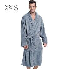 ce9e549608 XMS Brand Thick Flannel Men s Bath Robes Gentlemen Homewear Male Sleepwear  Lounges Pajamas Bathrobes Winter Autumn