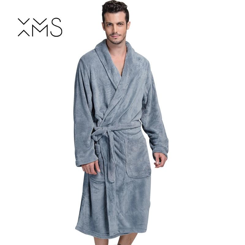 XMS Brand Thick Flannel Mens Bath Robes Gentlemen Homewear Male Sleepwear Lounges Pajama ...