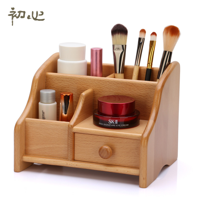 Wooden Tabletop Makeup Organizer For Lipstick Perfume Nail