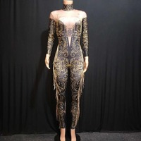 New Bodysuit DJ Costume Printed Stretch Jumpsuit Stage Outfit Singer Dancer Performance Rompers Rhinestones One Piece DJ1006