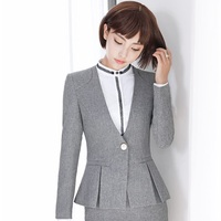 New Arrival Autumn Winter Long Sleeve Formal OL Styles Grey Blazers Jackets Coat For Ladies Office