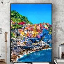 цены на Mediterranean Sea Port Scenery Wall Art Canvas Painting Poster For Home Decor Posters And Prints Unframed Decorative Pictures  в интернет-магазинах