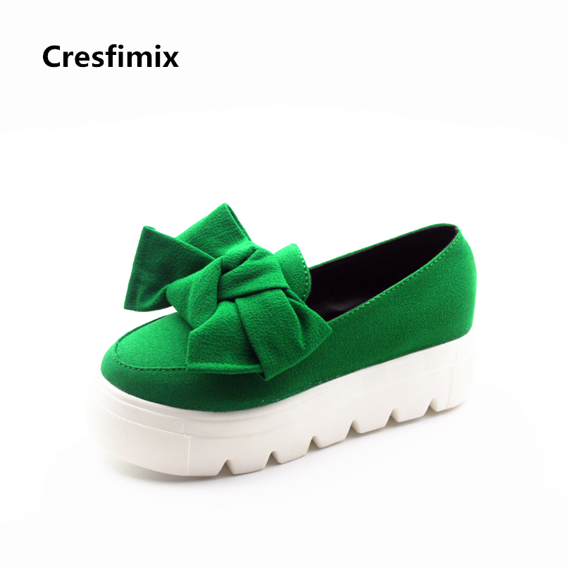 Cresfimix women fashion green flat platform shoes lady cute bow tie height increased shoes female casual bow tie shoes b860 green self tie