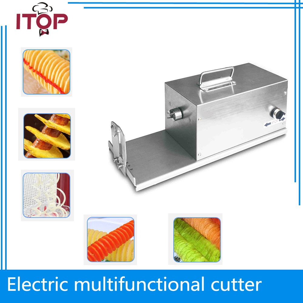 ITOP Potato Slicer 40W Electric Tornado Slicer Stainless Steel Spiral Potato Cutter Twister Spiral Automatic Cutter Machine gqd kie 001 stainless steel kiwi slicer cutter rind removal tool silver