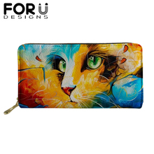 Casual Long Wallet for Women Purses Girls Colorful Cat 3D Print Coin Purse Card Holder PU Leather Wallet Female Zipper Money Bag модуль памяти kingston ddr4 so dimm 2666mhz pc 21300 cl19 4gb kvr26s19s6 4