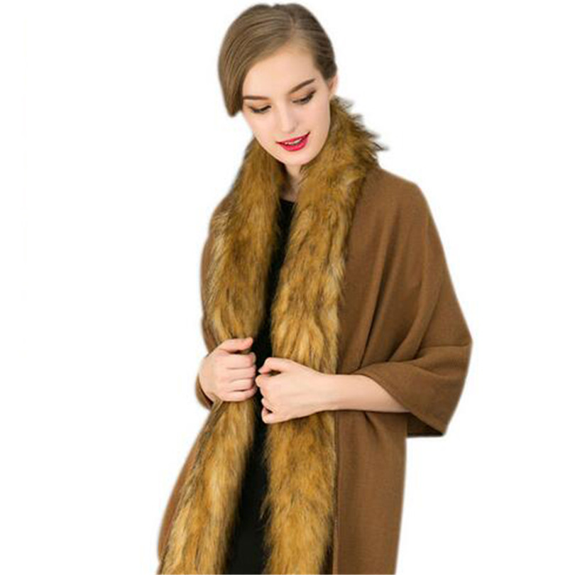 Oversized Coat Scarf Tassels Fox Fur Scarves Women Waistcoat Female Wrap Flocking Stole Shawl Femme Cardigan Cardiga Wraps S221