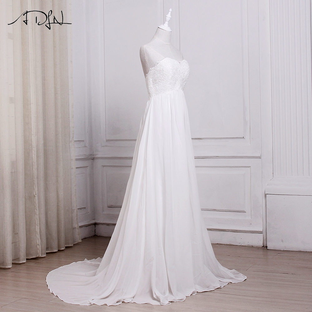 ADLN In Stock White / Ivory Chiffon Beach Wedding Dresses Vestido De Noiva Sweetheart A-line Bridal Gowns with Zipper Back 6