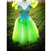 Beautiful Green Lyrical Dress Ballet Dresses For Adult Or Children Appliqued Green Crystal Fairy Long Soft