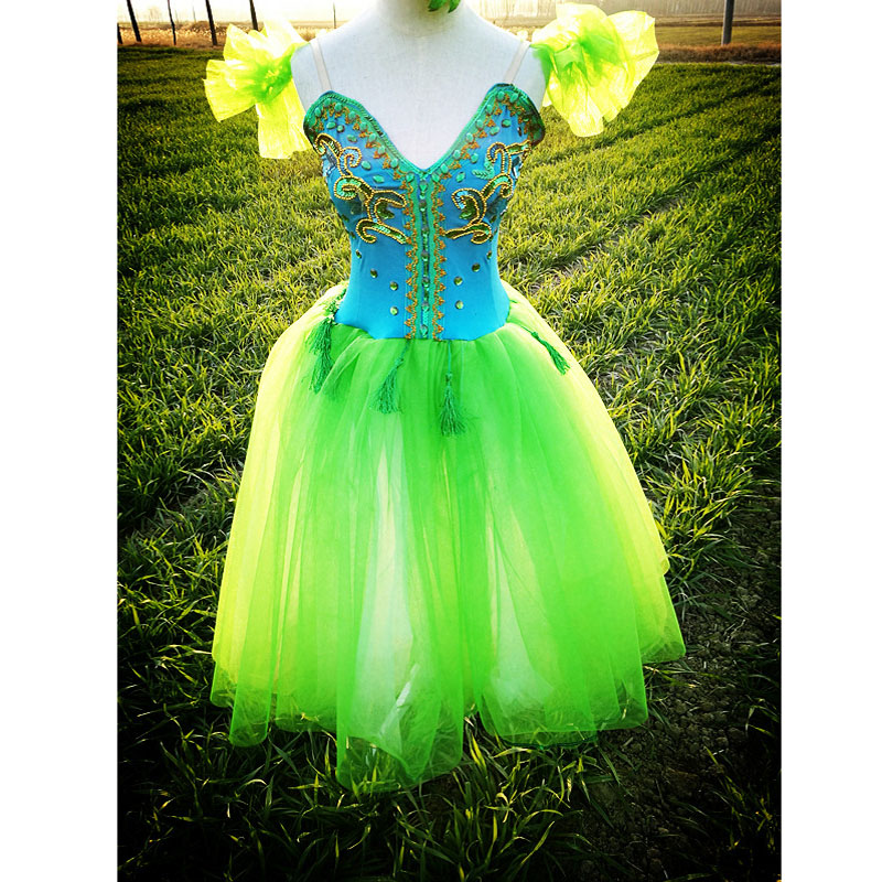 Beautiful Green Lyrical Dress Ballet Dresses For Adult Or Children,Appliqued Green Crystal Fairy Long Soft Ballet Clothes