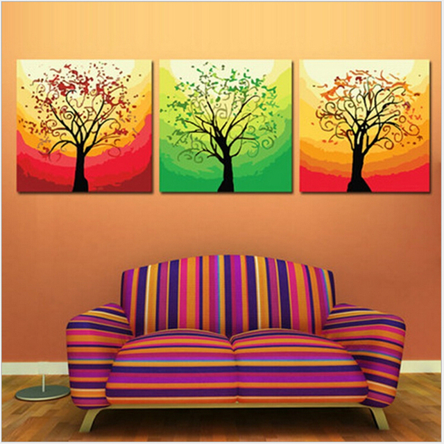 hand painted wall art 5050cm3 triptych canvas painting glare tree painting by