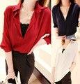 Limitado três quartos Blusas blusa mulheres 7 V vermelho camisa de bordado grosso C760
